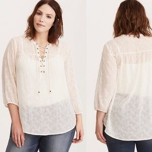 torrid | Boho Embroidered Chiffon Lace Up Blouse